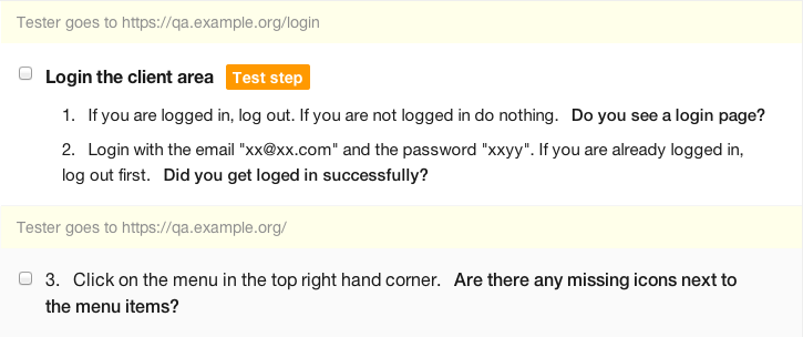 URL hints in steps