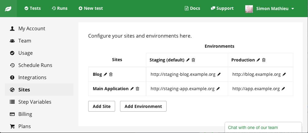 Configure multiple environments
