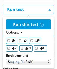 Run test in a particular environment