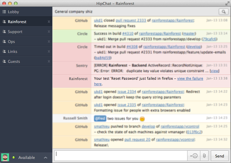 Rainforest piped into Hipchat
