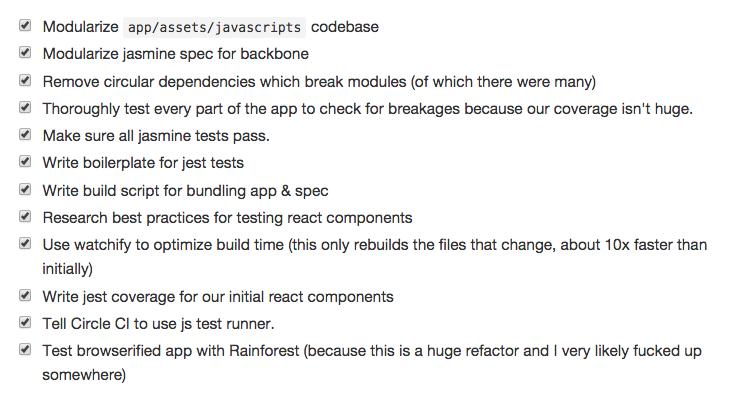 Refactoring Task list